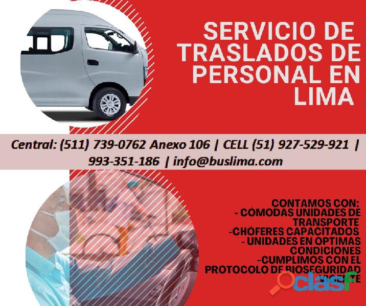 Unidades de transporte de PERSONAL PARA EMPRESAS A NIVEL NACIONAL