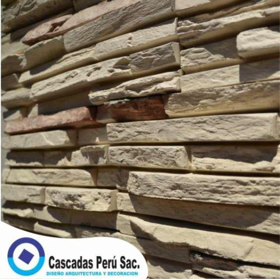 Piedra laja,fachaleta piedra,velo de agua, muro