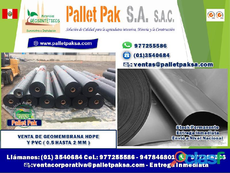 Venta de geomembrana hdpe y pvc ( 0.5 hasta 2 mm )