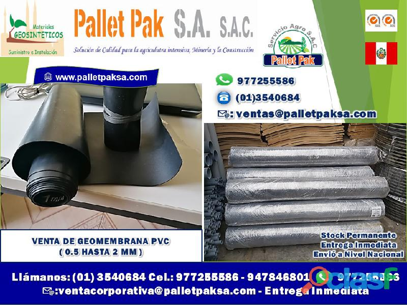 Venta de geomembrana pvc ( 0.5 hasta 2 mm )