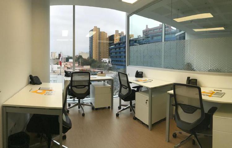 Alquiler oficina privadas 100 implementada en san isidro.