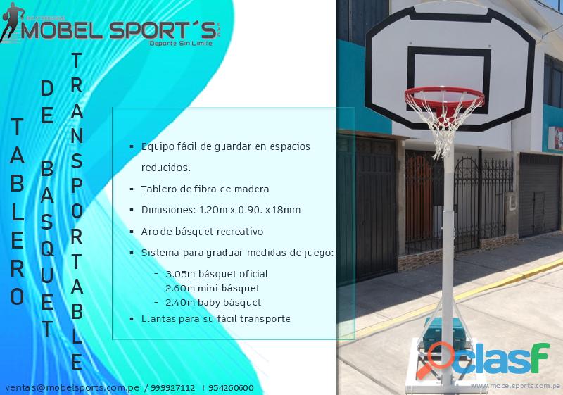 Tablero de basquet de madera transportable   mobel sports