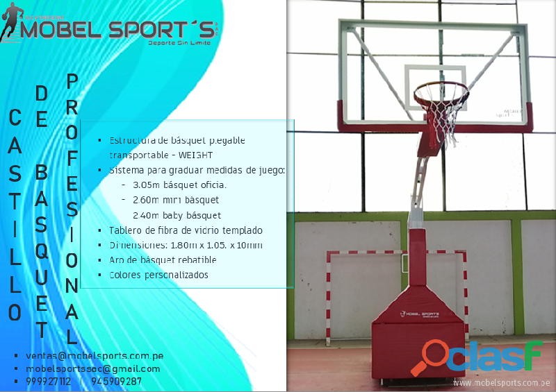 CASTILLO DE BASQUETBOL PLEGABLE TRANSPORTABLE WEIGHT MOBEL SPORTS