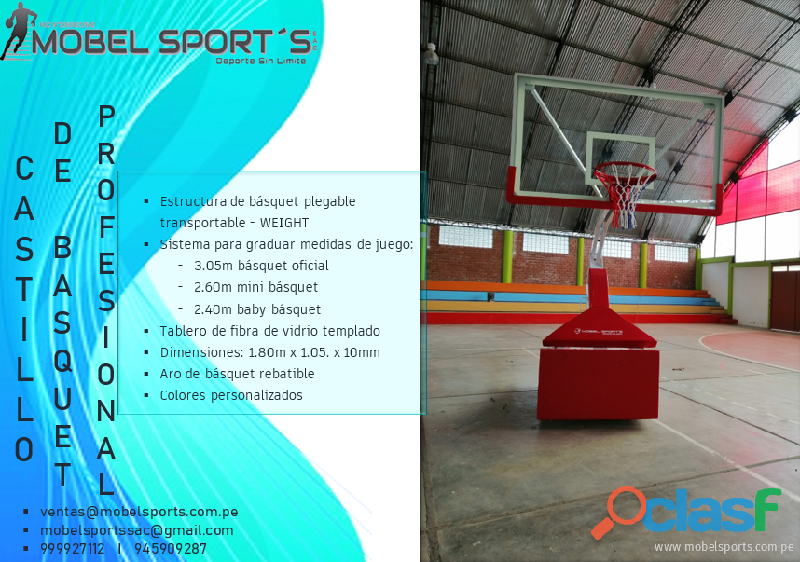 CASTILLO DE BASQUETBOL PLEGABLE TRANSPORTABLE WEIGHT MOBEL SPORTS 1