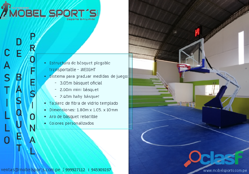 CASTILLO DE BASQUETBOL PLEGABLE TRANSPORTABLE WEIGHT MOBEL SPORTS 3