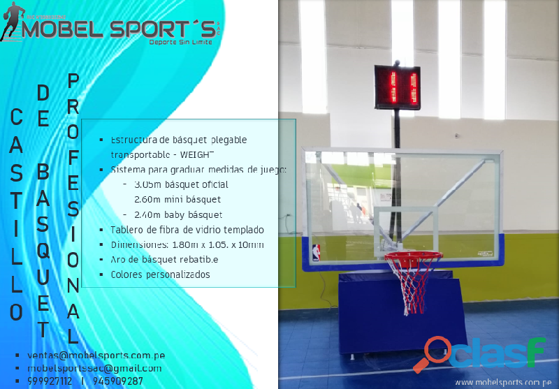 CASTILLO DE BASQUETBOL PLEGABLE TRANSPORTABLE WEIGHT MOBEL SPORTS 5