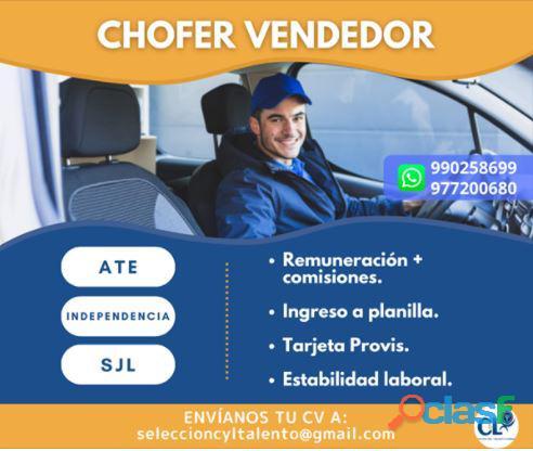 Chofer vendedor para INDEPENDENCIA, SJL