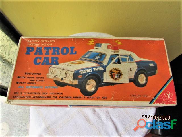 Vintage carro policia patrol car yonesawa, funciona