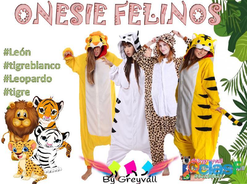 Pijama enterizo disfraz FELINOS: Leon, Leopardo , Tigres