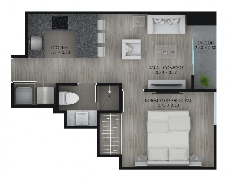 Estupendo departmento piso alto en proyecto inmobiliario