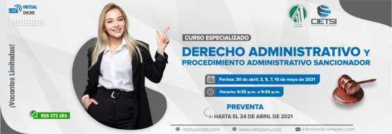 Curso especializado en derecho administrativo y