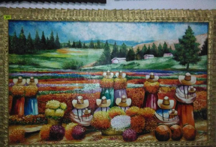 Vendo oleos con marcos tallados de paisajes iqueños,solo en