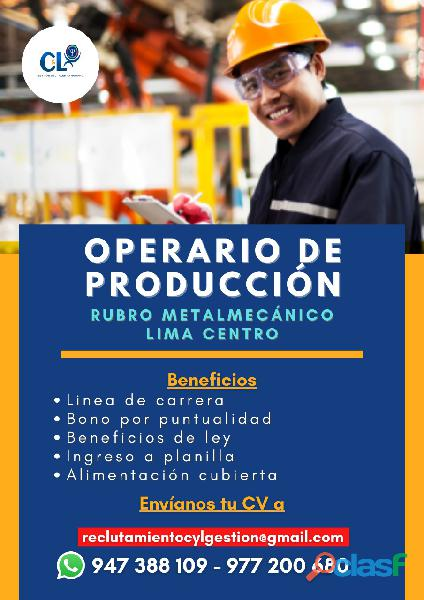 Operario de Producción   Lima