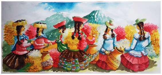 Pinturas de arte en acuarela y oleo, decorativos y otros