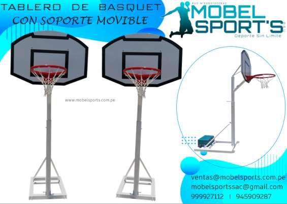 Tablero de basquet de madera con soporte movible