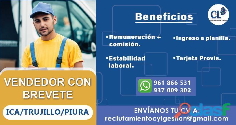 Chofer Vendedor   Licencia A1   Trujillo