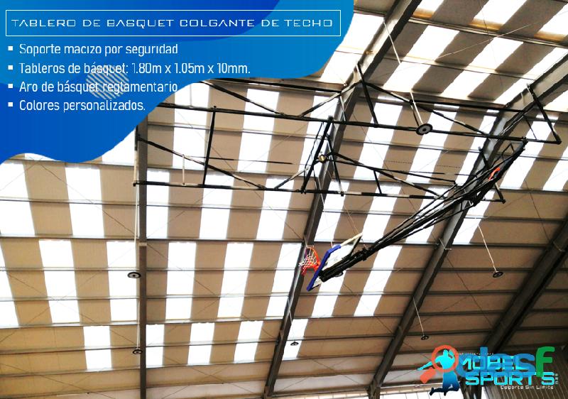 Tablero de basquet colcgante de techo   mobel sport's