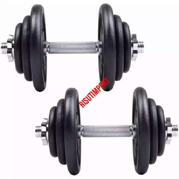 Set 40 kilos pesas + mancuernas o (barra cromada recta 2