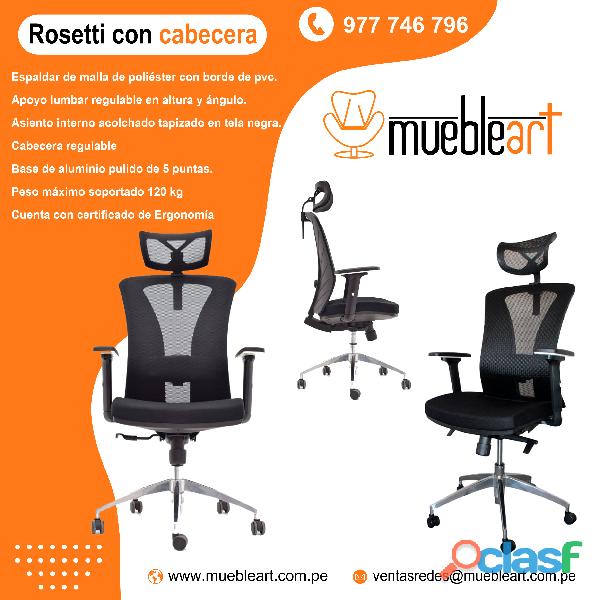 silla modelo presidencial Rosetti con cabecera ajustable