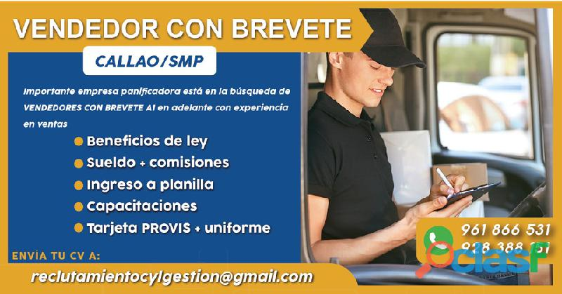Conductor Vendedor   Licencia A1   Callao/SMP   Planilla + Beneficios de Ley