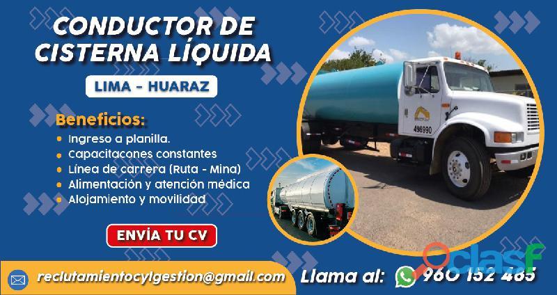 Chofer de Cisterna Líquida   Lima/Huaraz   Planilla