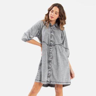 Vestido corto para mujer denimlab-gris