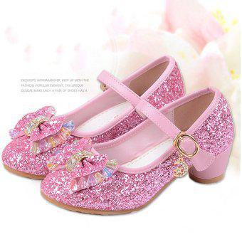 Zapatos de princesa de tacón alto para niñas-rosa