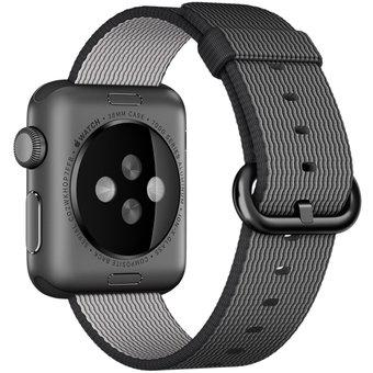 For Apple Watch 38mm Woven Nylon Watchband(black)