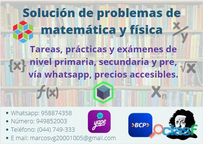 Resolución de problemas de matemática y física vía whatsapp, precio acesible.