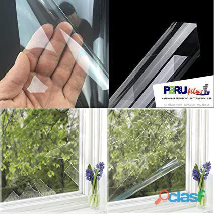 Laminas de seguridad de 4 micras transparente para vidrios crudos con Certificado Indeci Lima Peru 8