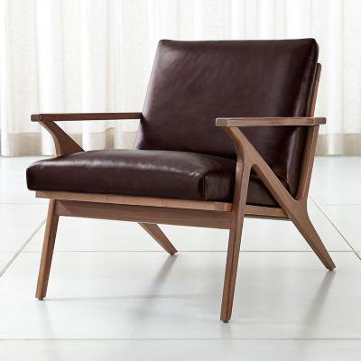 Crate & barrel silla de cuero cavett   falabella.com