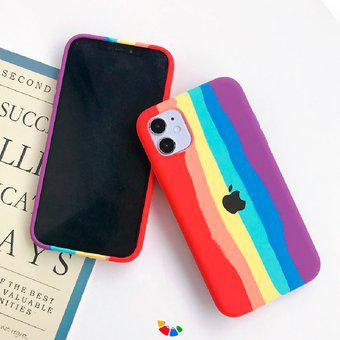 Funda case iphone 12 mini arco iris silicon liquid antishock